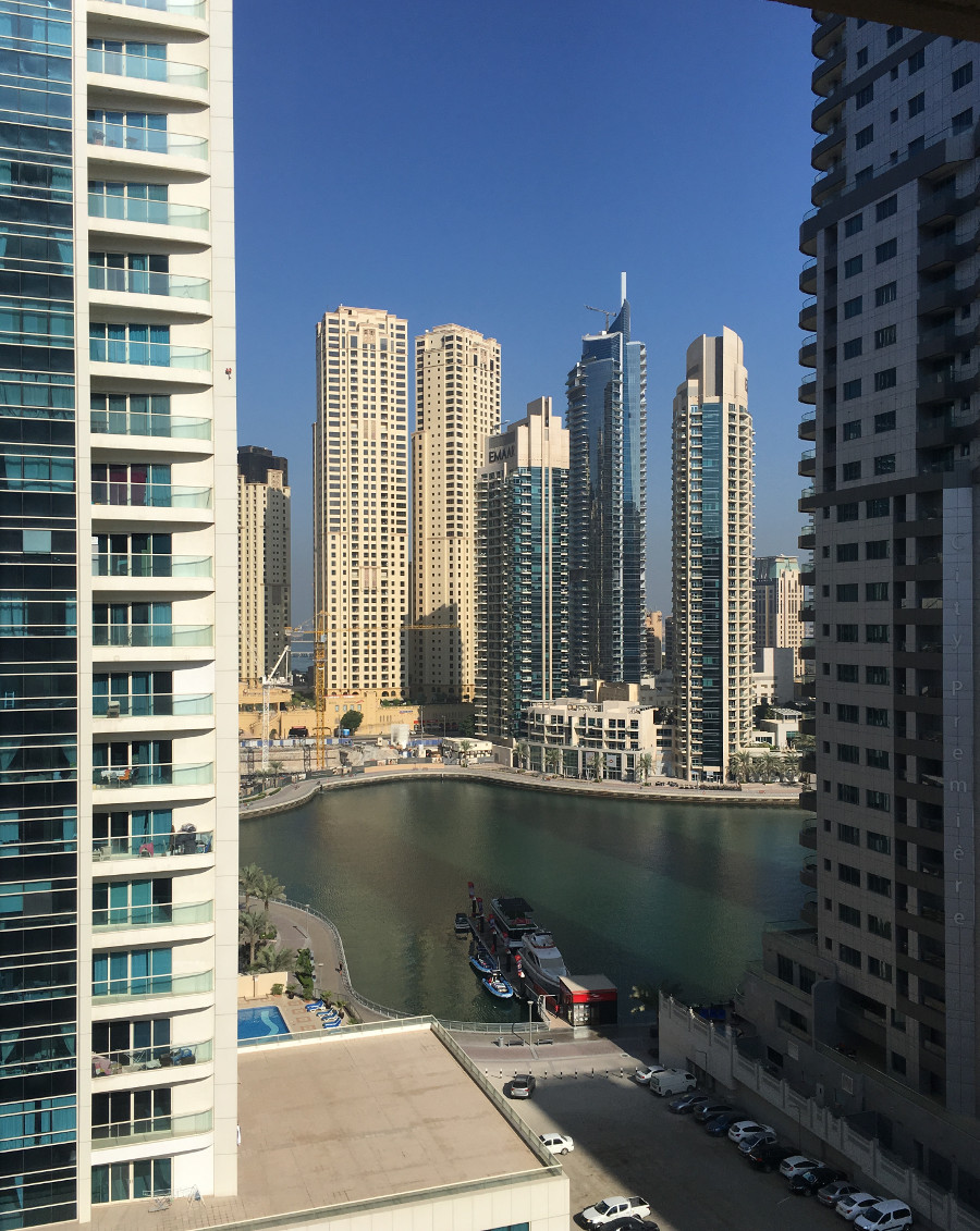 Dubai Marina views from our Radisson Blu apartment