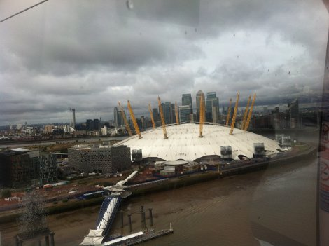 The O2 arena, as seen from the Emirates Air Line