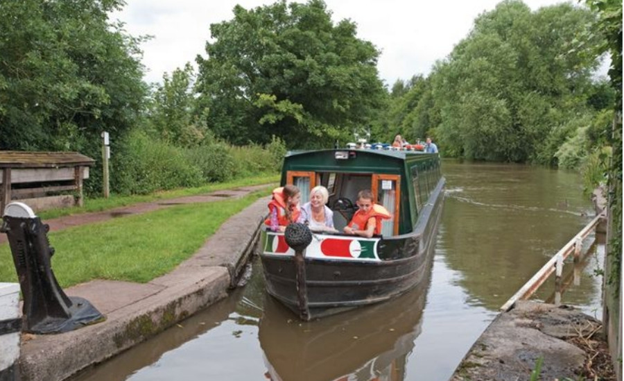 The canal boat 'samphire' at Trevor - one of the many boats available