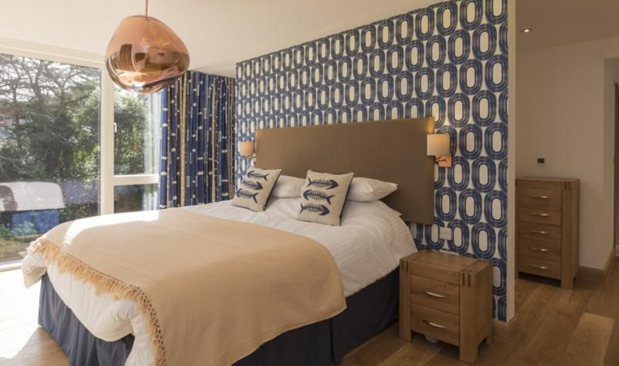 One of the five bedrooms at Bridleway House in Salcombe