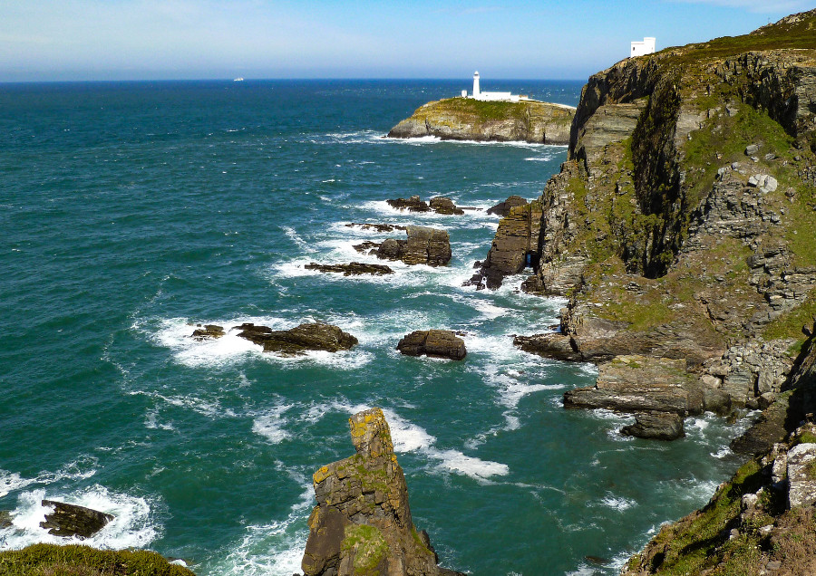 The South Stack, on the western point of Isle of Anglesey, 20 miles from Caer Merddyn