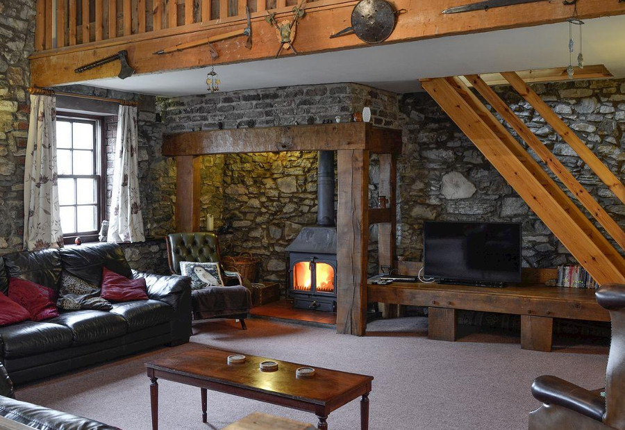 Croft House Barn has a wood burning stove in the living room