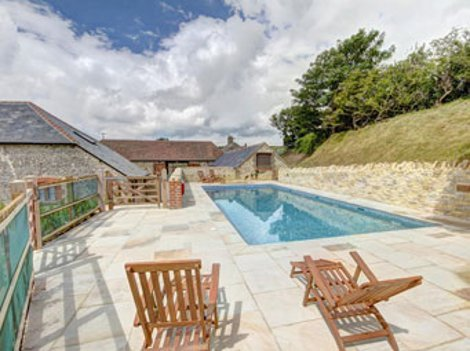 The swimming pool at Durdle Door Holiday Cottages