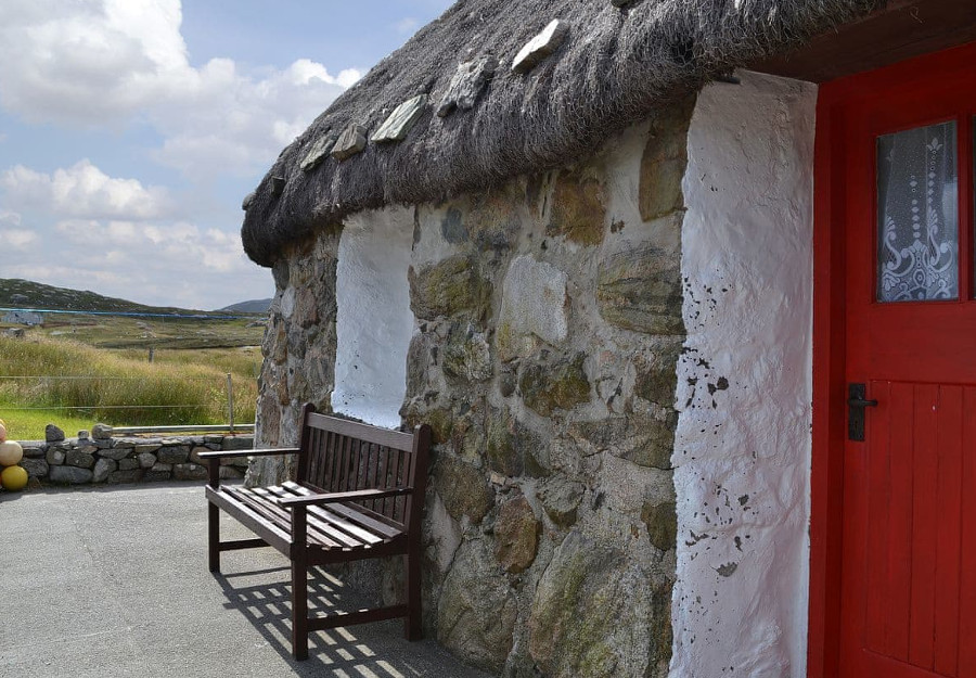 Take a seat outside Evat Cottage, and look out over the Outer Hebrides