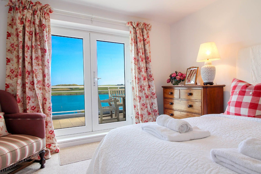 One of the five bedrooms at Fiddlers Green in St Mawes