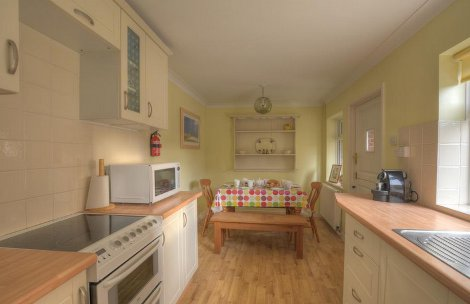 The kitchen and dining room at Flying Goose in Southwold