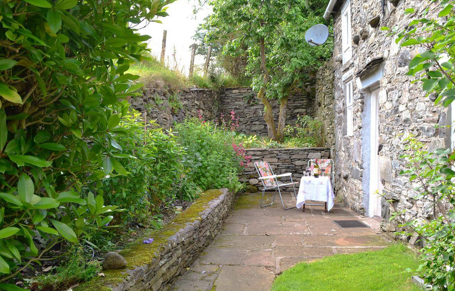 The small garden at Ingle Neuk Cottage - ideal for a relax after walking those fells