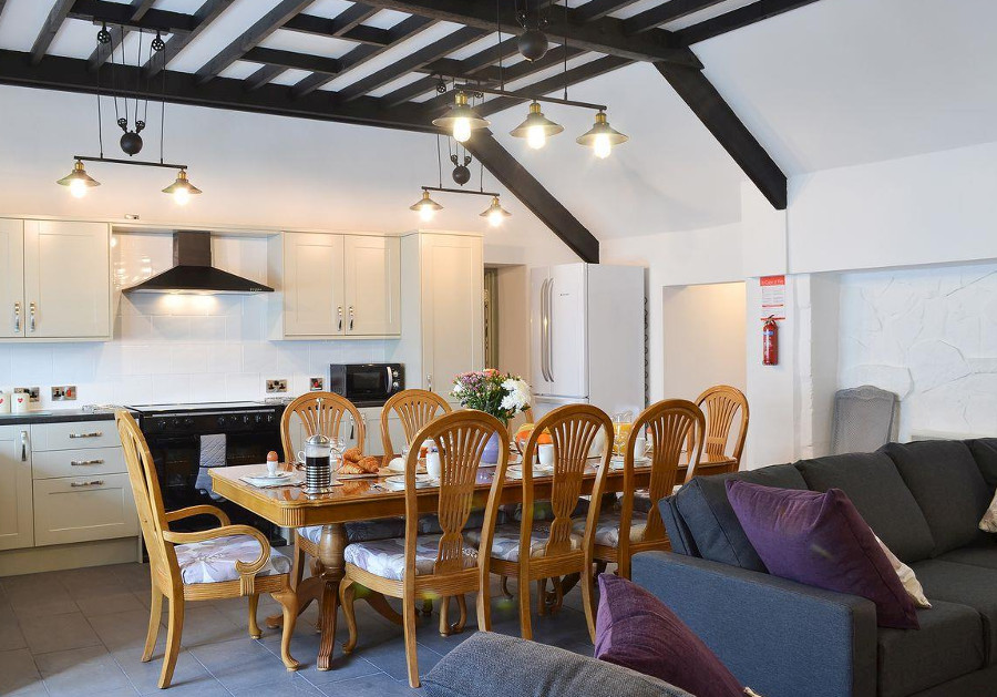 The kitchen, dining area and living room in Kingfisher at Maesydderwen Holiday Cottages
