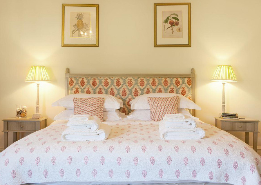 One of the bedrooms at Pamflete House on the Flete Estate, Devon