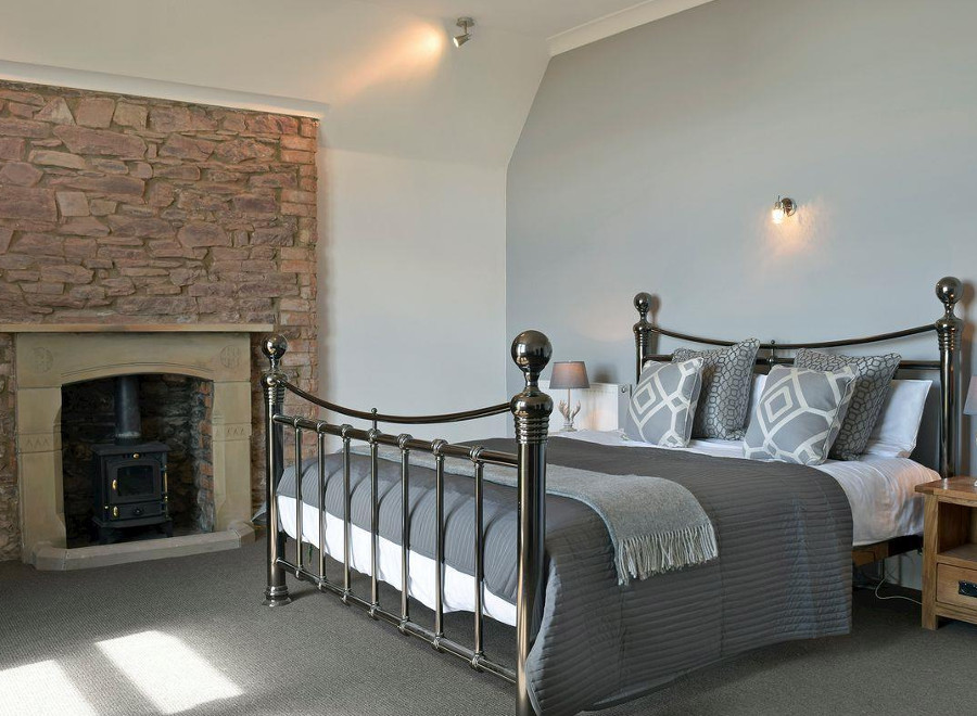 One of the nine bedrooms at Pendine Manor in South Wales