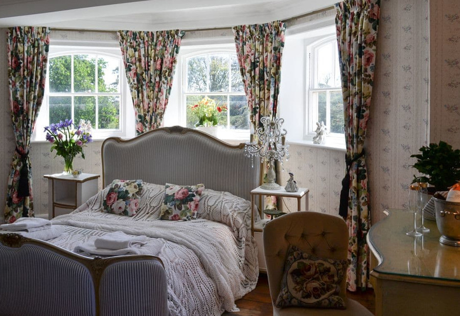 One of the sixteen bedrooms at Raithby Hall in Spilsby, Lincolnshire
