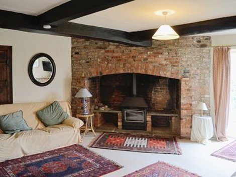 The wood burning stove at The Farmhouse in Newent