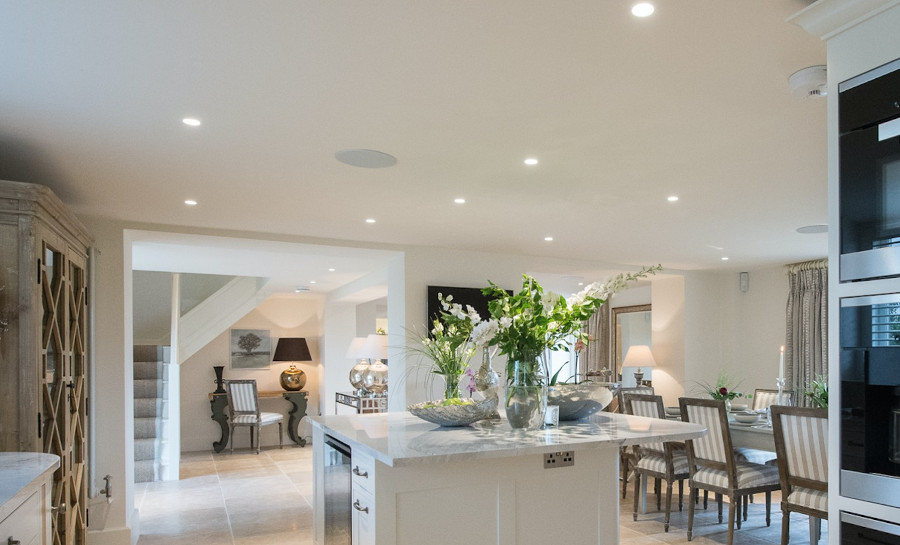 The living area, kitchen and dining area at The Grange, Hencote