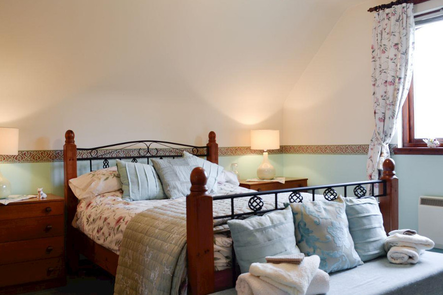 One of the four bedrooms at The Maltings near Stranraer in Dumfries and Galloway