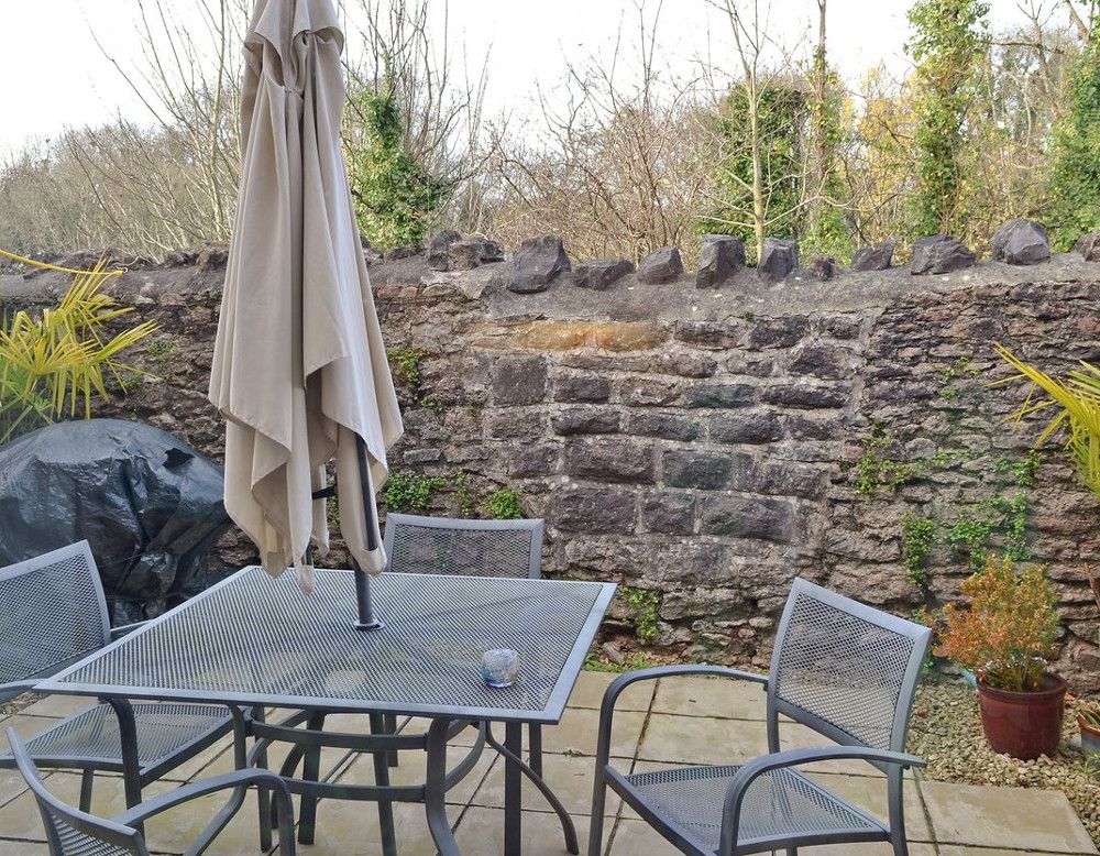 The patio garden at The Wookey House in Somerset