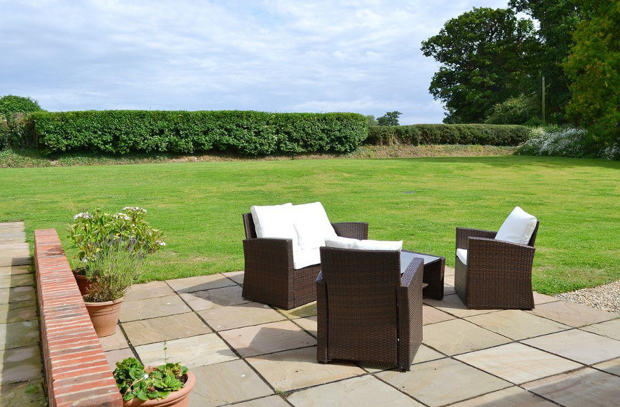 The lawned garden at Three Horseshoes House near North Walsham