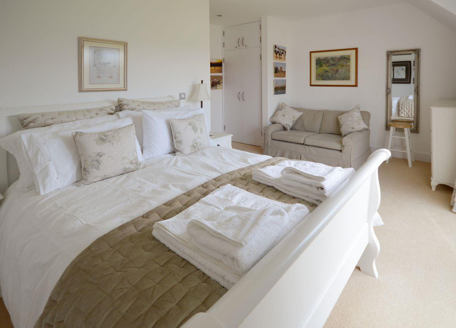 One of the three double bedrooms at Waters Edge, Isle of Wight