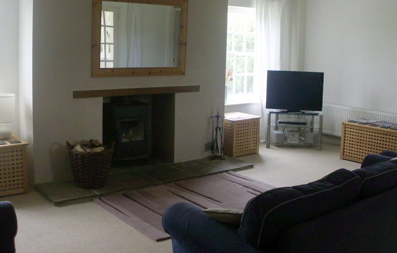 The living room - with a wood burning stove - at Wensum View Cottage