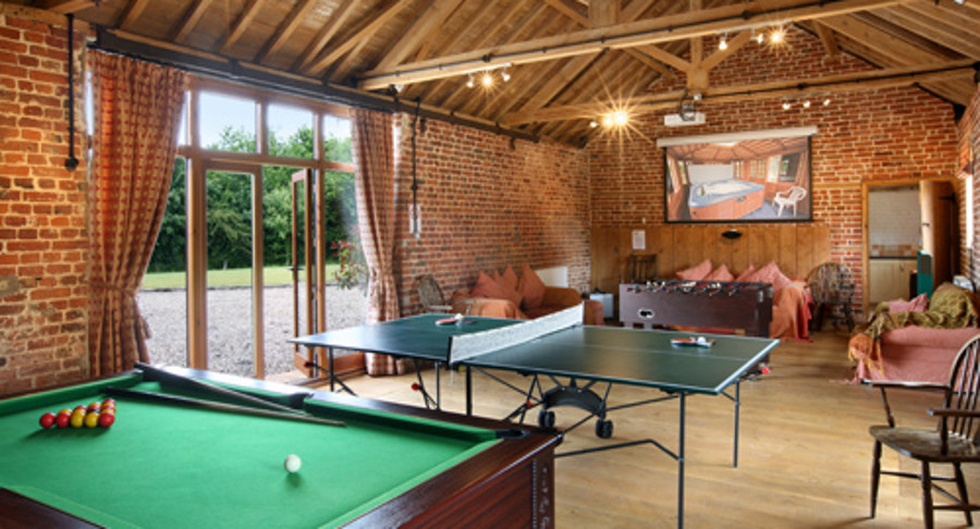 The games room at Wheatacre Hall Barns