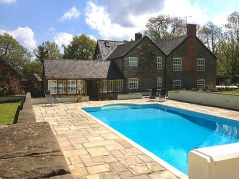 The swimming pool at White Hopton House in Sarn, near Bishops Castle