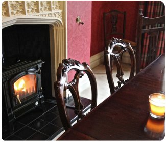 The wood burning stove at White Moss<br />Number 2 The Terrace