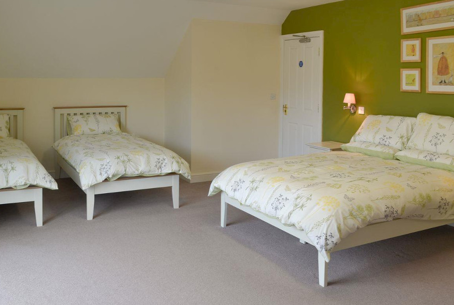 One of the nine bedrooms at Whitton Lodge in Hardstoft