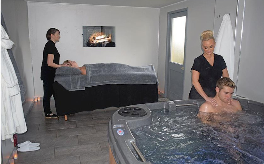 Each lodge at Ashby Woulds Retreat has its own spa area - enjoy a massage in your lodge!