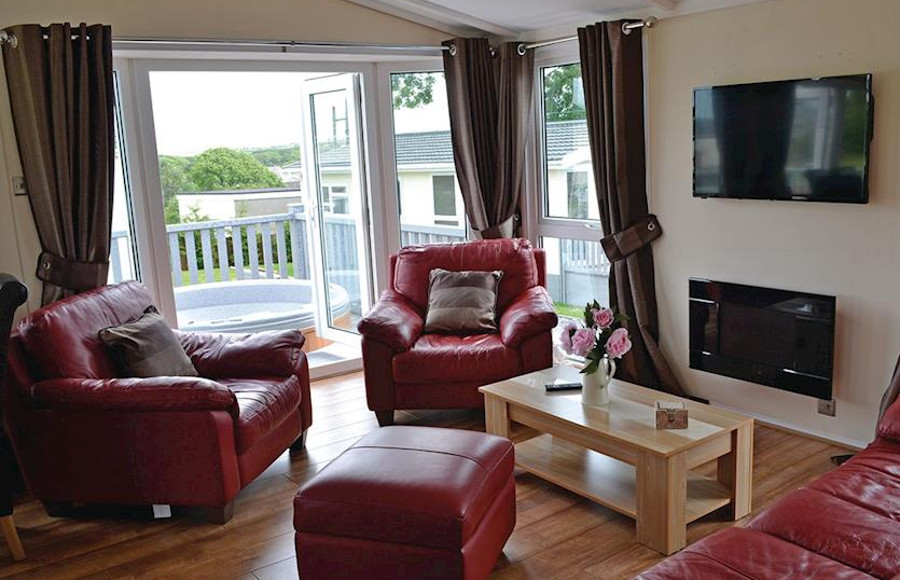 Inside a lodge at Bryn Mechell Lodges near Cemaes Bay