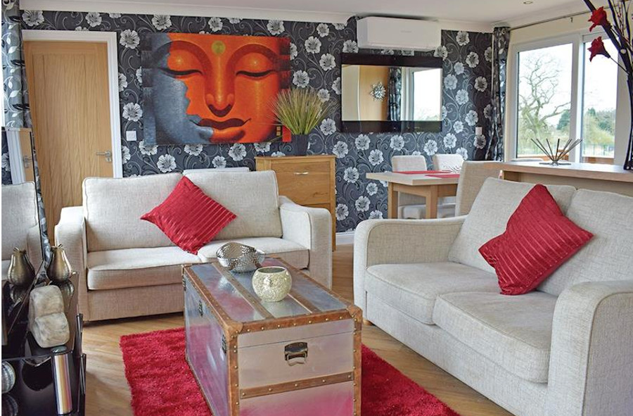 Inside a lodge at Caistor Lakes Lodges
