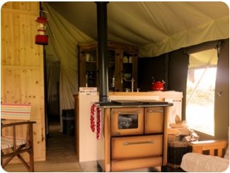 The interior of the Chaffinch and Goldfinch tents