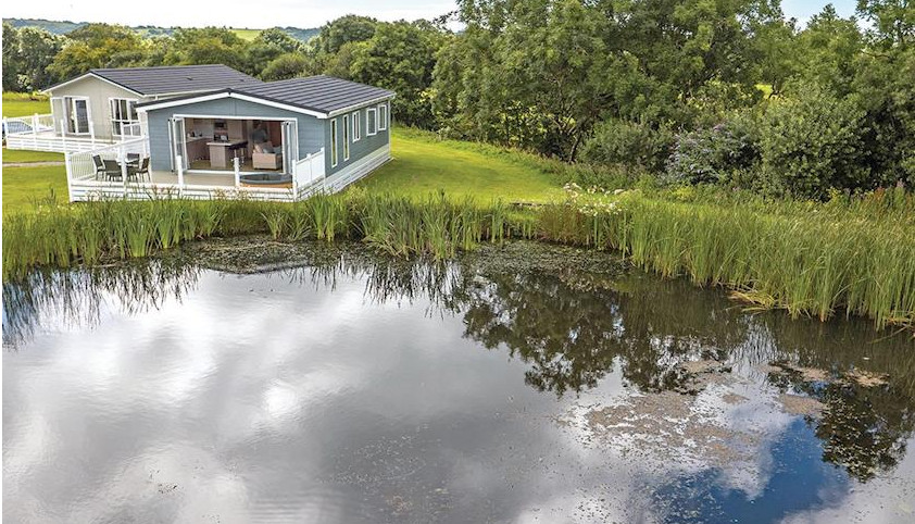 The setting on Florence Springs Lakeside Lodges in South Wales