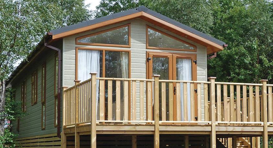 One of the lodges at Flusco Wood in Cumbria