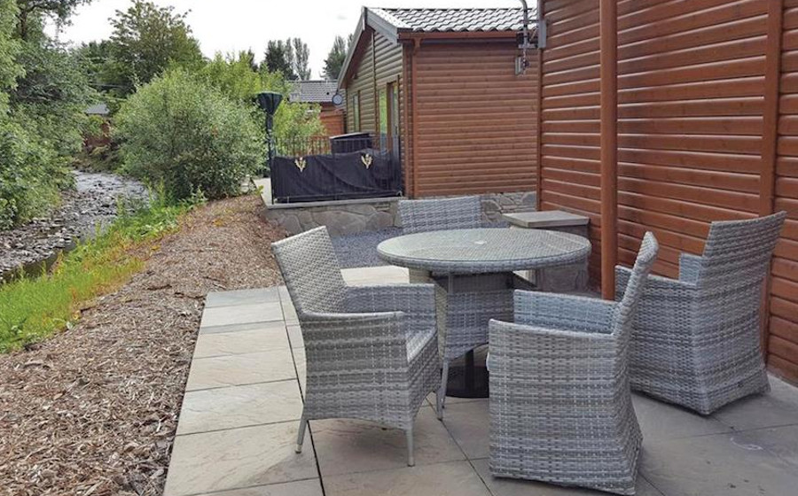 The lodges at Grand Eagles Lodges each have a patio