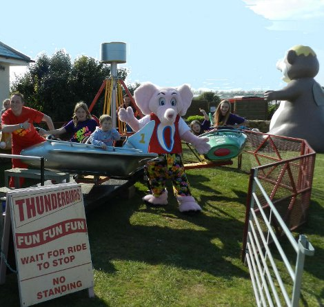 A fairground ride at Harlyn Sands Holiday Park