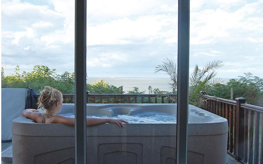The hot tub on the decking at Ocean Lodges, Azure Seas Holiday Park in Lowestoft