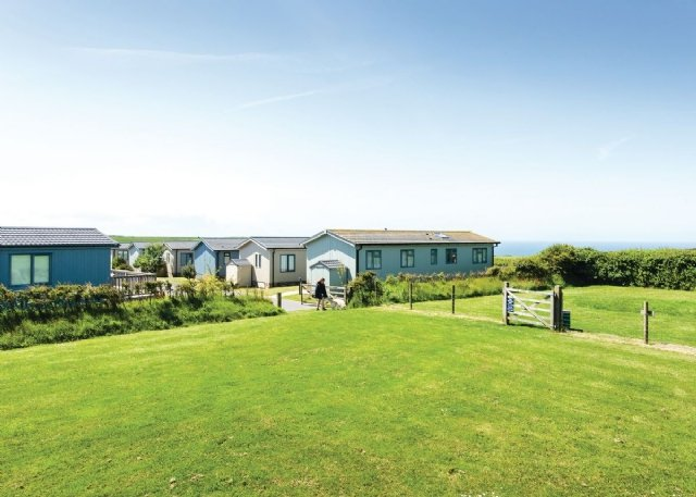 Some of the lodges at The Salcombe Retreat in Soar, Devon