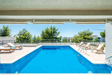 The swimming pool at Villa Hedonis in Primosten, Croatia