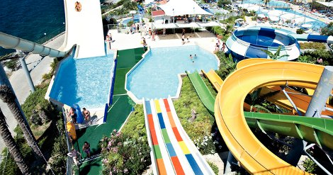 The water park at Aquamania Pine Bay Holiday Resort in Turkey